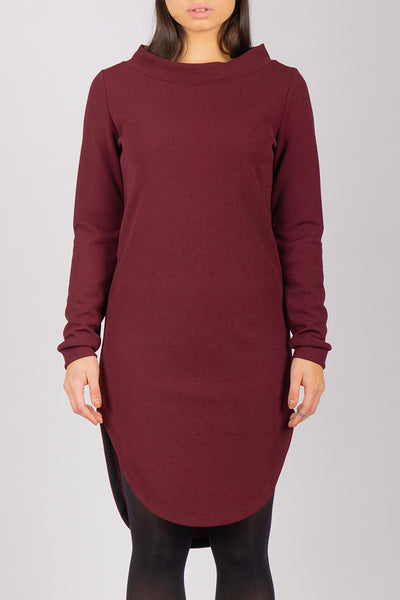 Burgundy Inuit Collar Dress