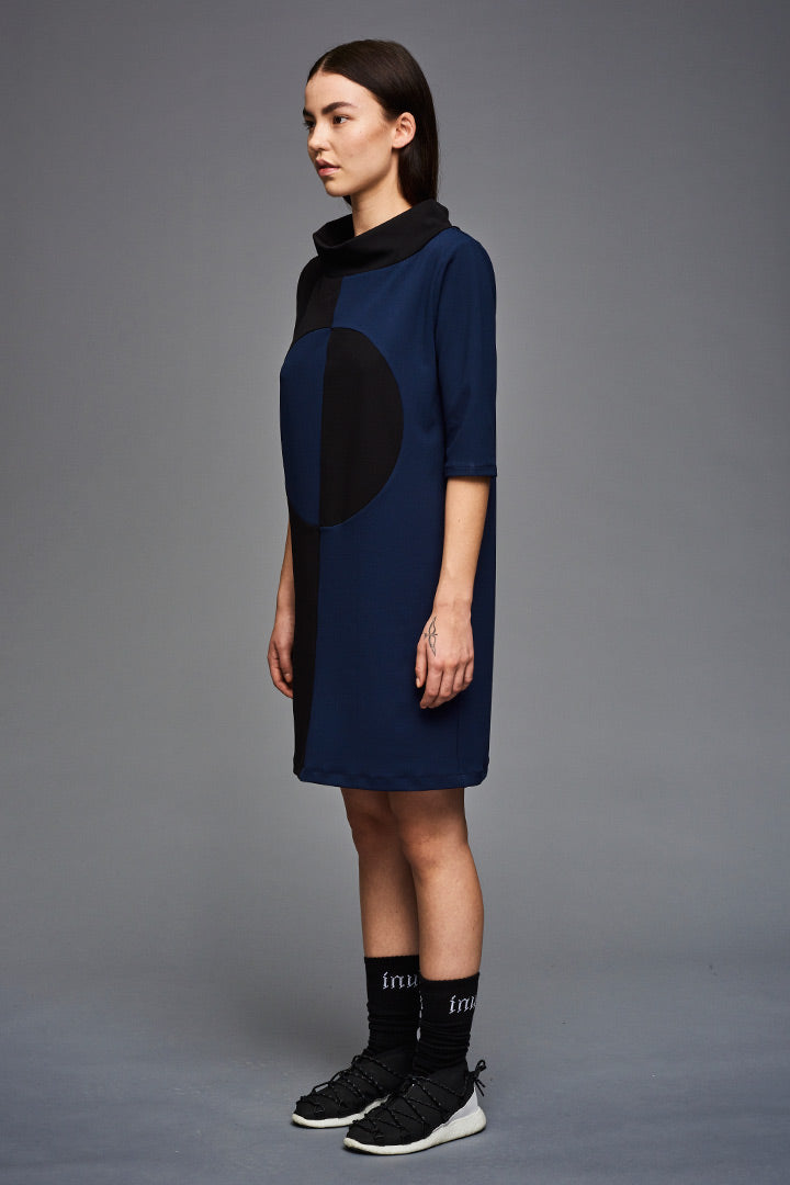 2 Color Crepe Circle Dress