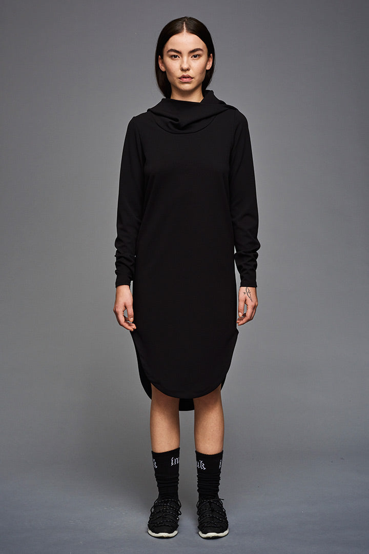Inuit hoodie dress in black crepe fabric