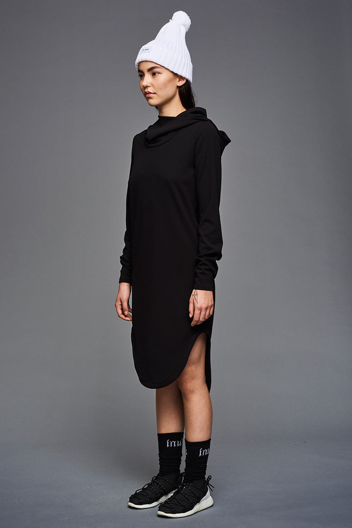 Cotton Inuit Hoodie Dress (black)