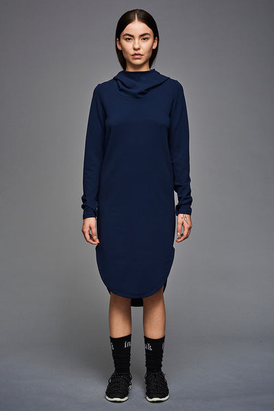 Crepe Inuit Hoodie Dress in dark blue