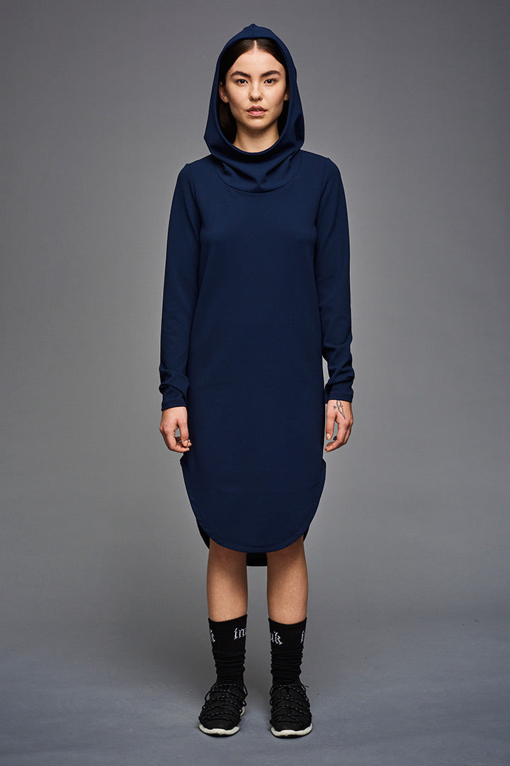 Crepe Inuit Hoodie Dress (blue)