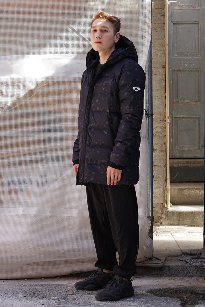 Dark Spray Long  Down Jacket