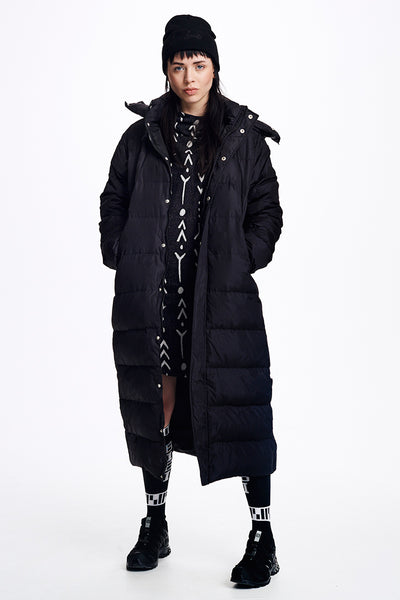 Extra Long Black Down Jacket