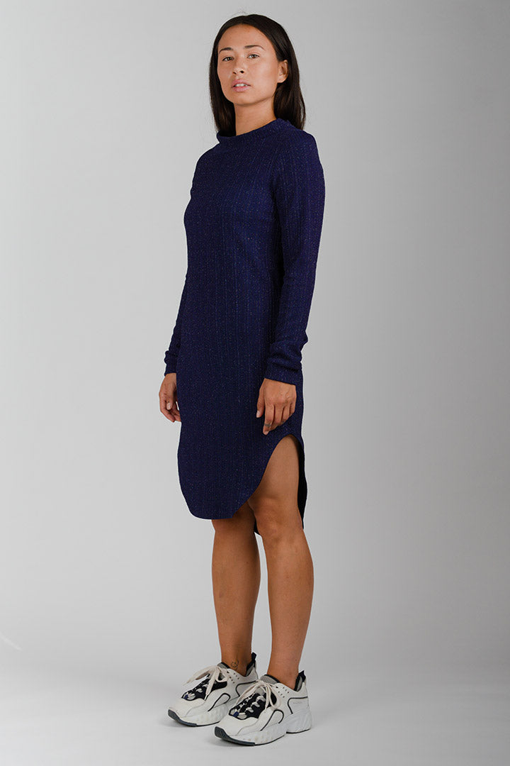 Blue Glitter Inuit Collar Dress