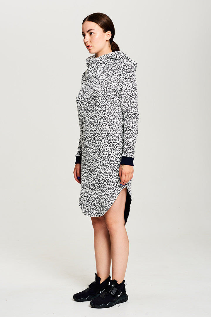 BIBI CHEMNITZ bestselling style. Ice inuit hoodie dress. Pattern is ice in the ocean.