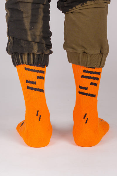 Lines Sports Socks (Orange/Black)