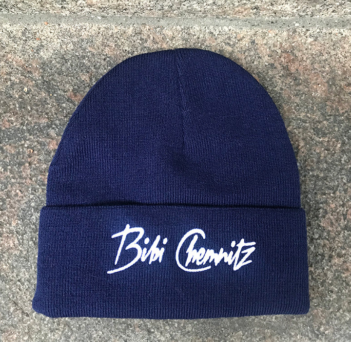 BIBI CHEMNITZ navy and white logo beanie