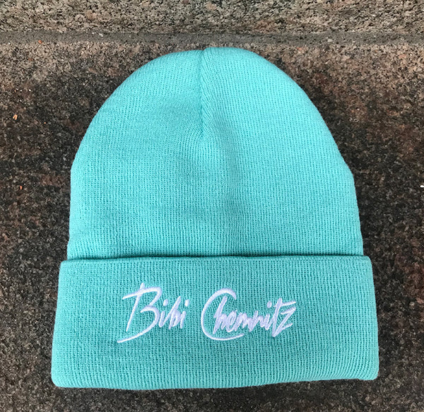 BIBI CHEMNITZ mint and white logo beanie