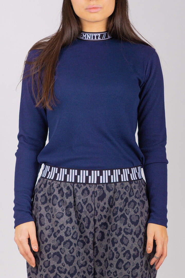 BIBI Rib Turtleneck (Navy Blue)