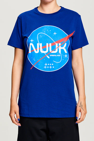 BIBI CHEMNITZ Nuuk Space T-shirt in soft blue cotton.