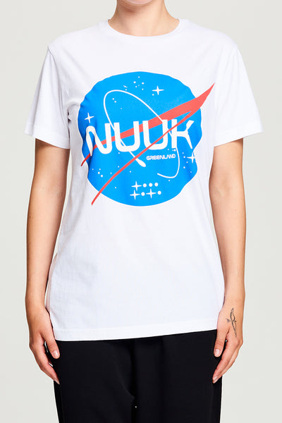 BIBI CHEMNITZ Nuuk Space T-shirt in soft white cotton.