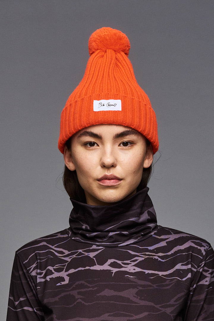 Orange Pom Pom Beanie
