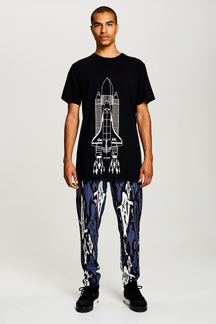 BIBI CHEMNITZ Rocket T-shirt in soft black cotton.