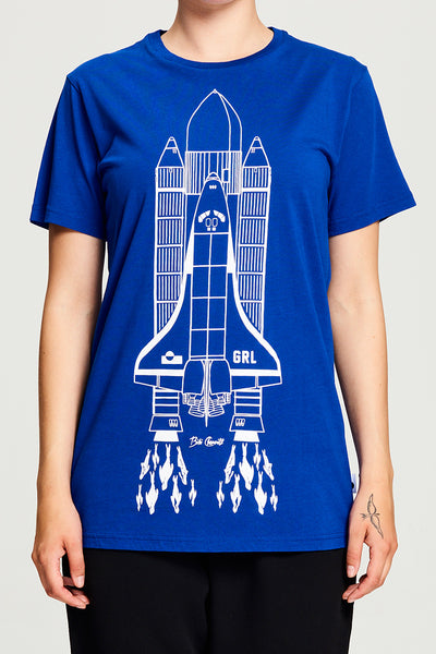 BIBI CHEMNITZ Rocket T-shirt in soft blue cotton.