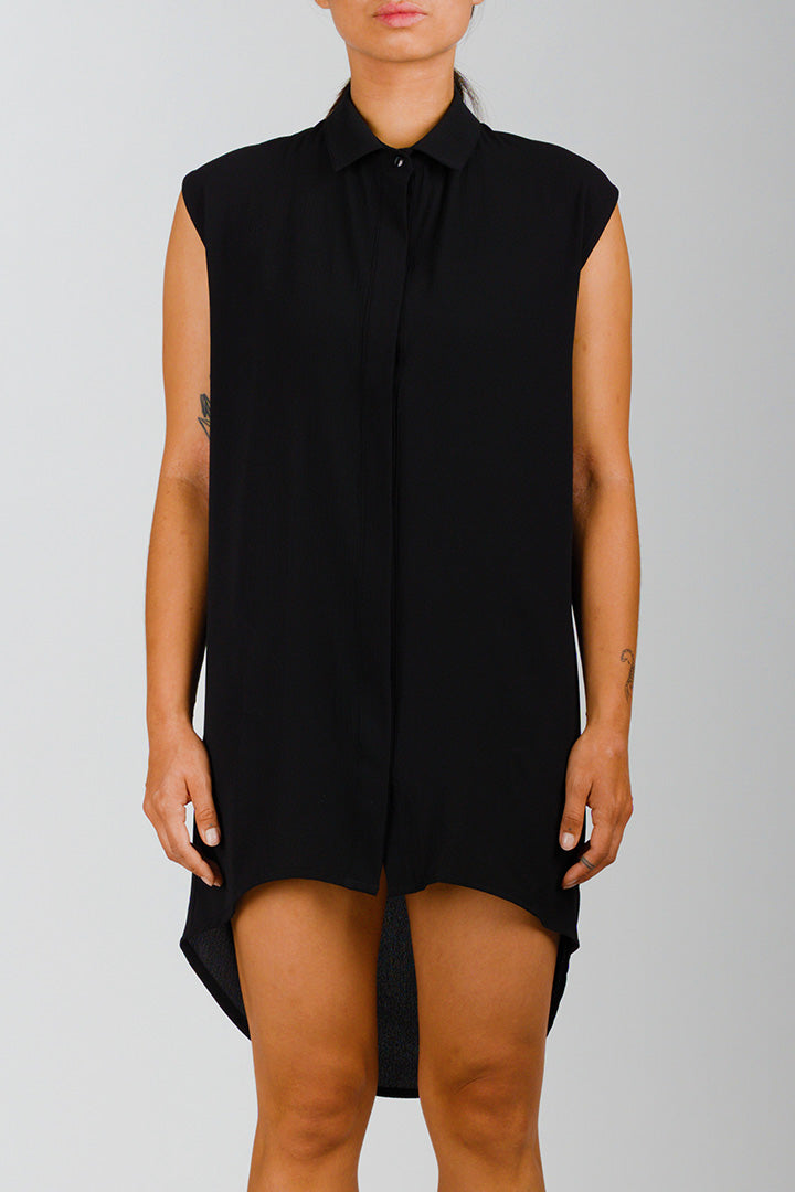 Long Black Sleeveless Shirt Dress