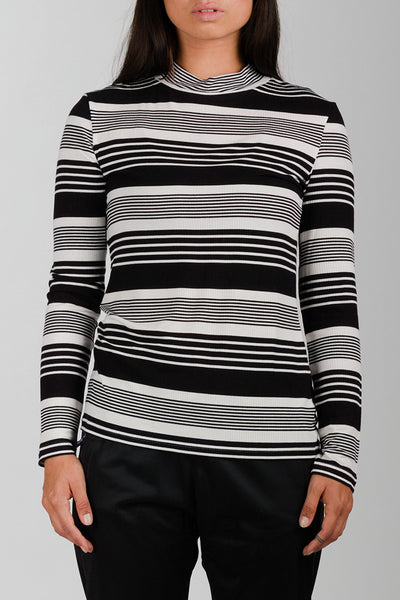 Striped Black & White Rib Blouse