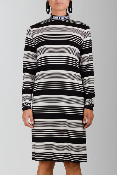 Stripe BIBI Rib Turtleneck Dress