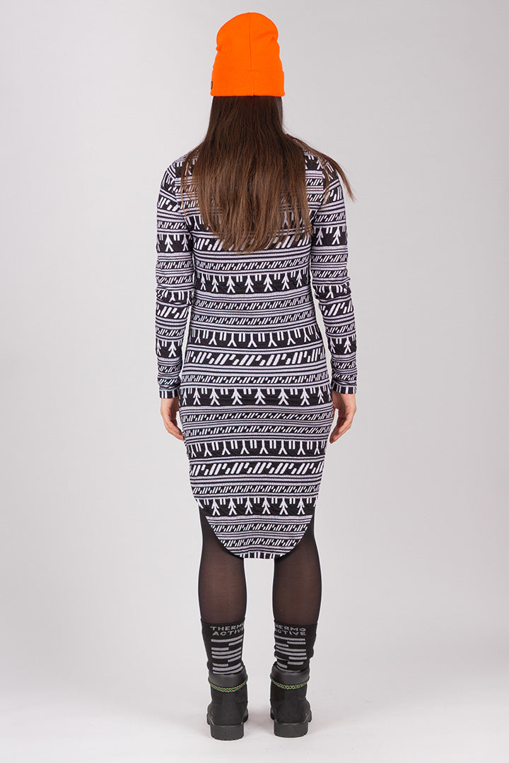 Inuit Tattoo Collar Dress (Black/White)