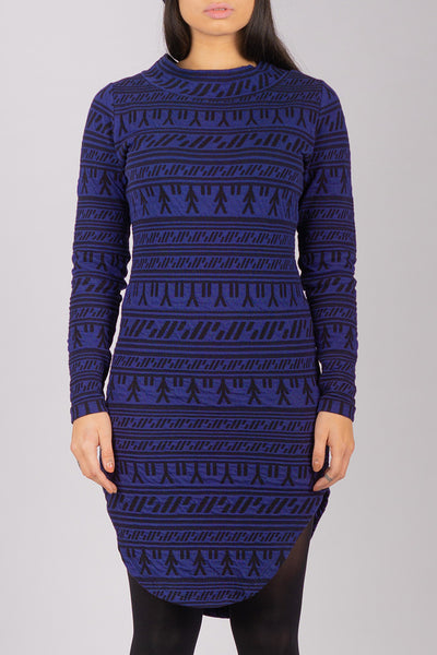 Inuit Tattoo Collar Dress (Blue/Black)