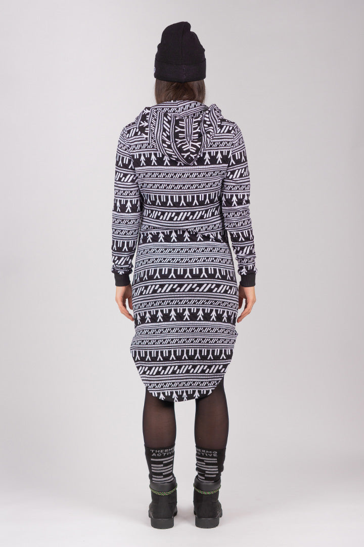 Inuit Tattoo Hoodie Dress (Black/White)