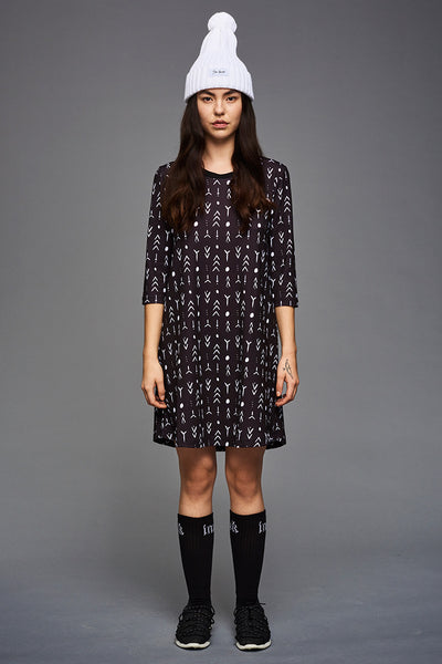BIBI CHEMNITZ Tattoo Jersey Dress. Print inspired by Inuit tattoo's