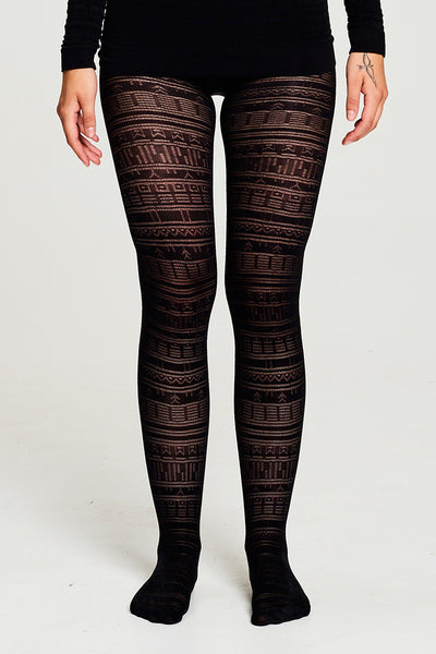 BIBI CHENITZ seamlesss Tattoo Tights. Tights has a Inuit tattoo inspired all-over pattern
