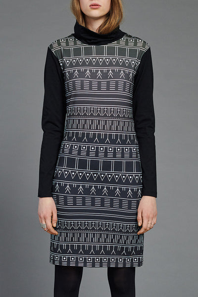 Green Inuit Tattoo Turtleneck Dress