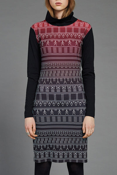 Red Inuit Tattoo Turtleneck Dress by BIBI CHEMNITZ. Price 650 DKK = 87€
