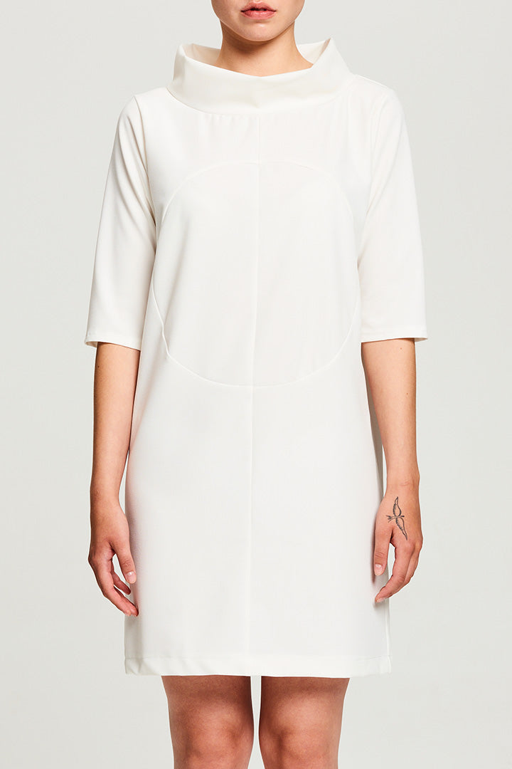 White Crepe Circle Dress