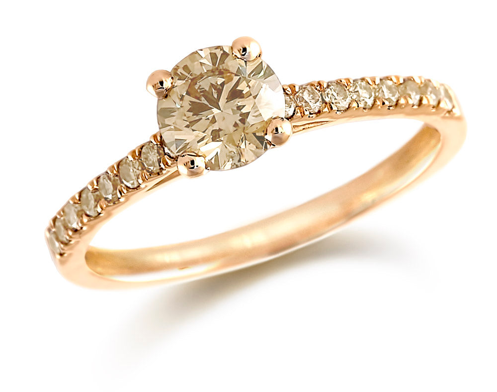18ct Rose Gold Brilliant Cut Diamond Solitaire Ring