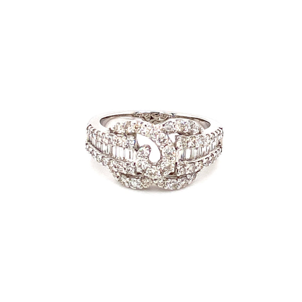 18ct White Gold Tapered Baguette Diamond Ring