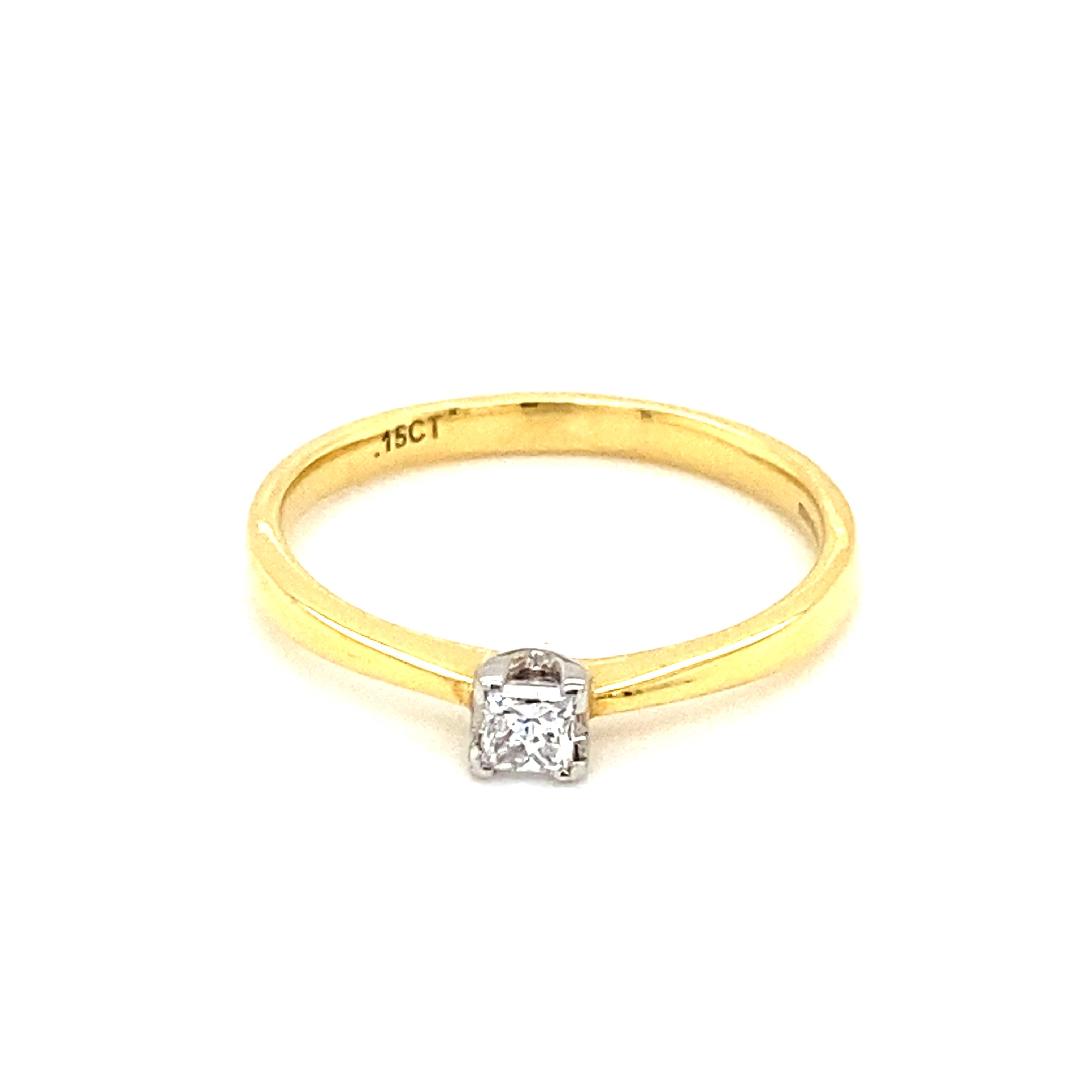 18ct Yellow Gold 0.15ct Princess Cut Solitaire Ring