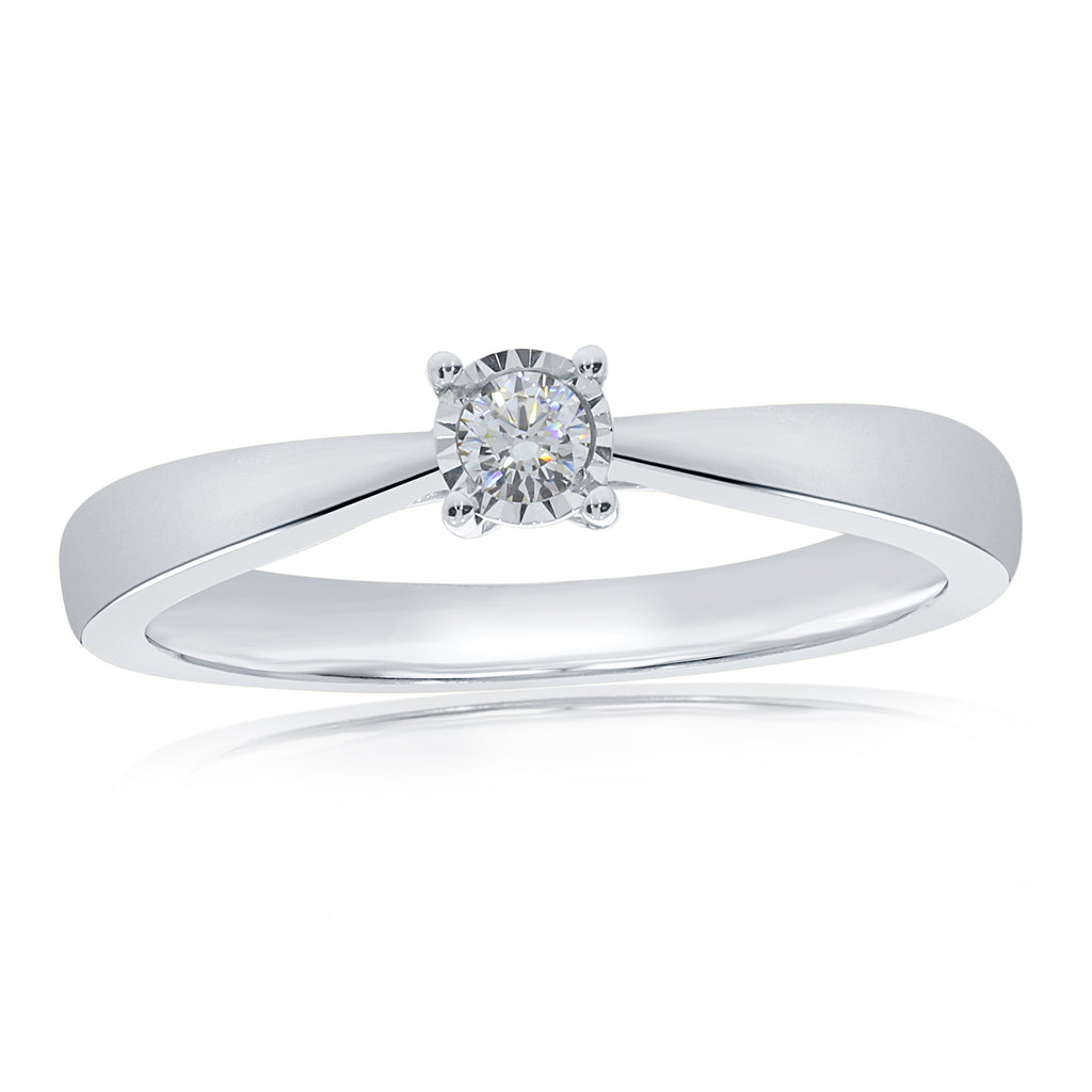 9ct White Gold Illusion Set Solitaire Ring