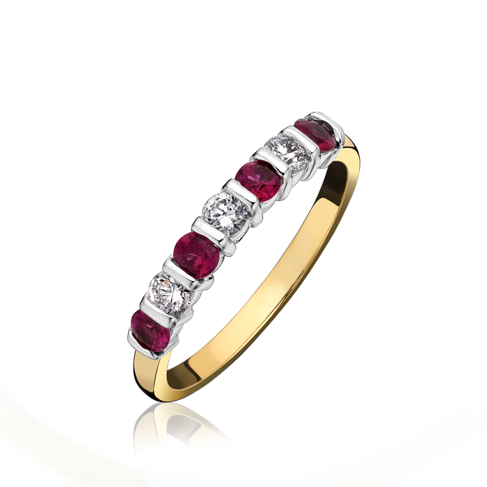 18ct Yellow Gold Diamond and Ruby Eternirty