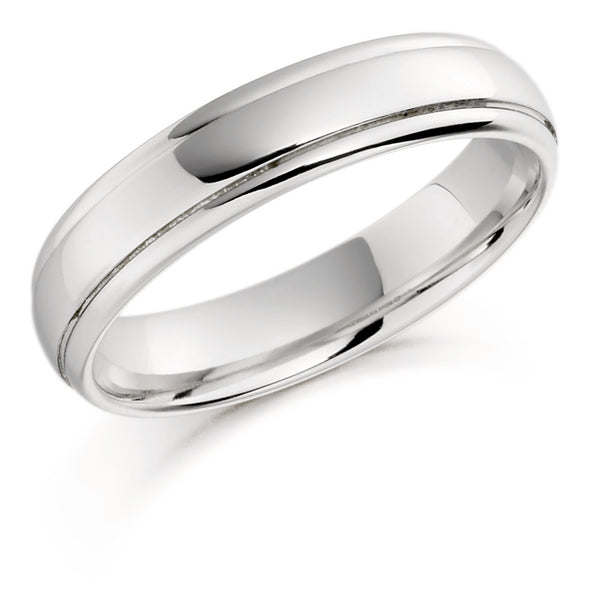 Plain Wedding Ring with a Lined Edge