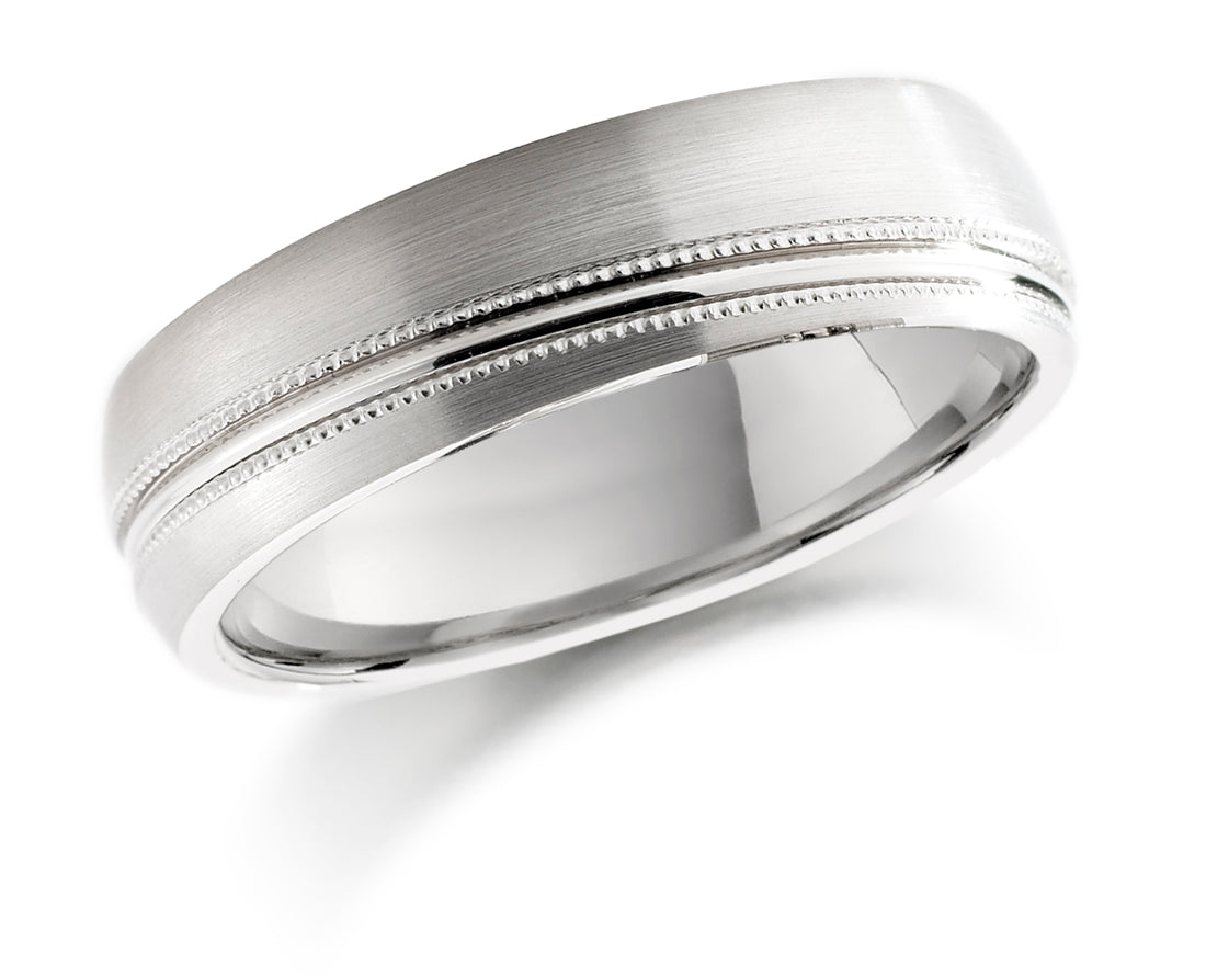18ct White Gold 5mm Satin Ring