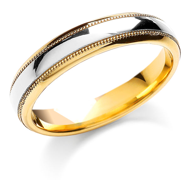 18ct Two Colour Wedding Band