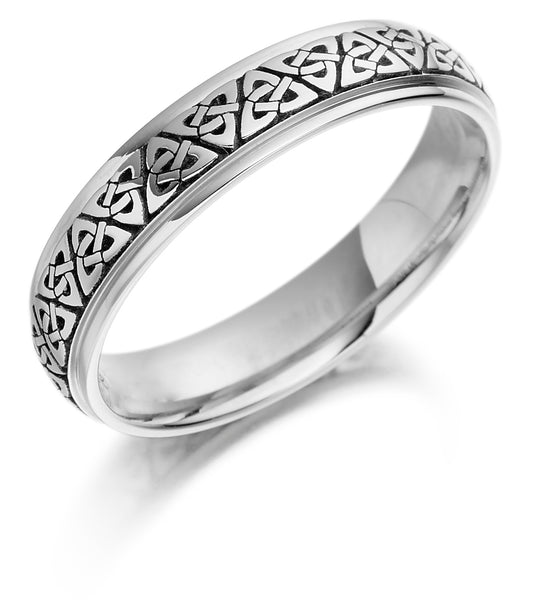 9ct White Gold Celtic Wedding Band