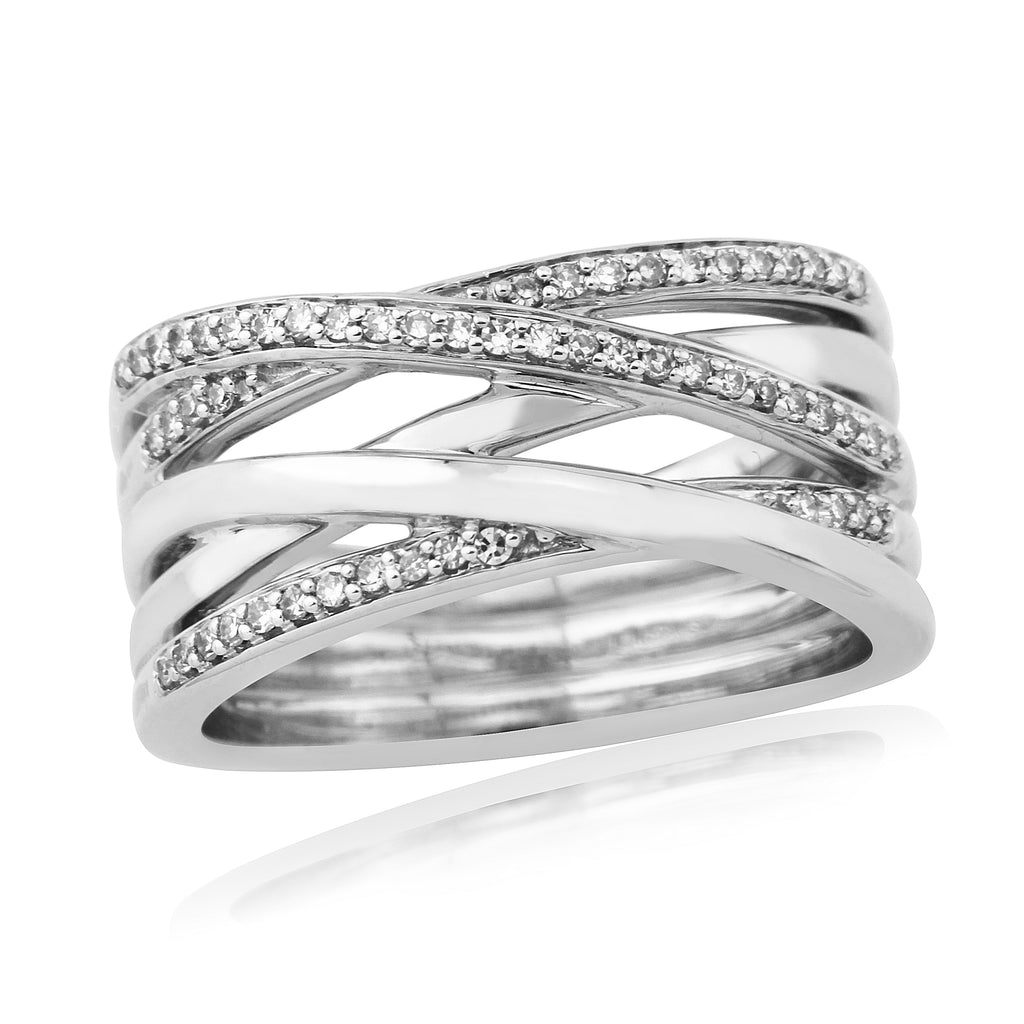 9ct White Gold 3 Row Ring