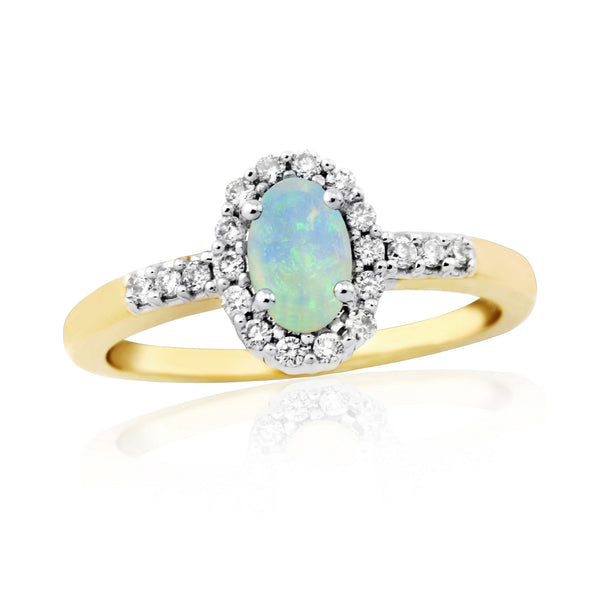 9ct Yellow Gold Diamond and Opal Ring