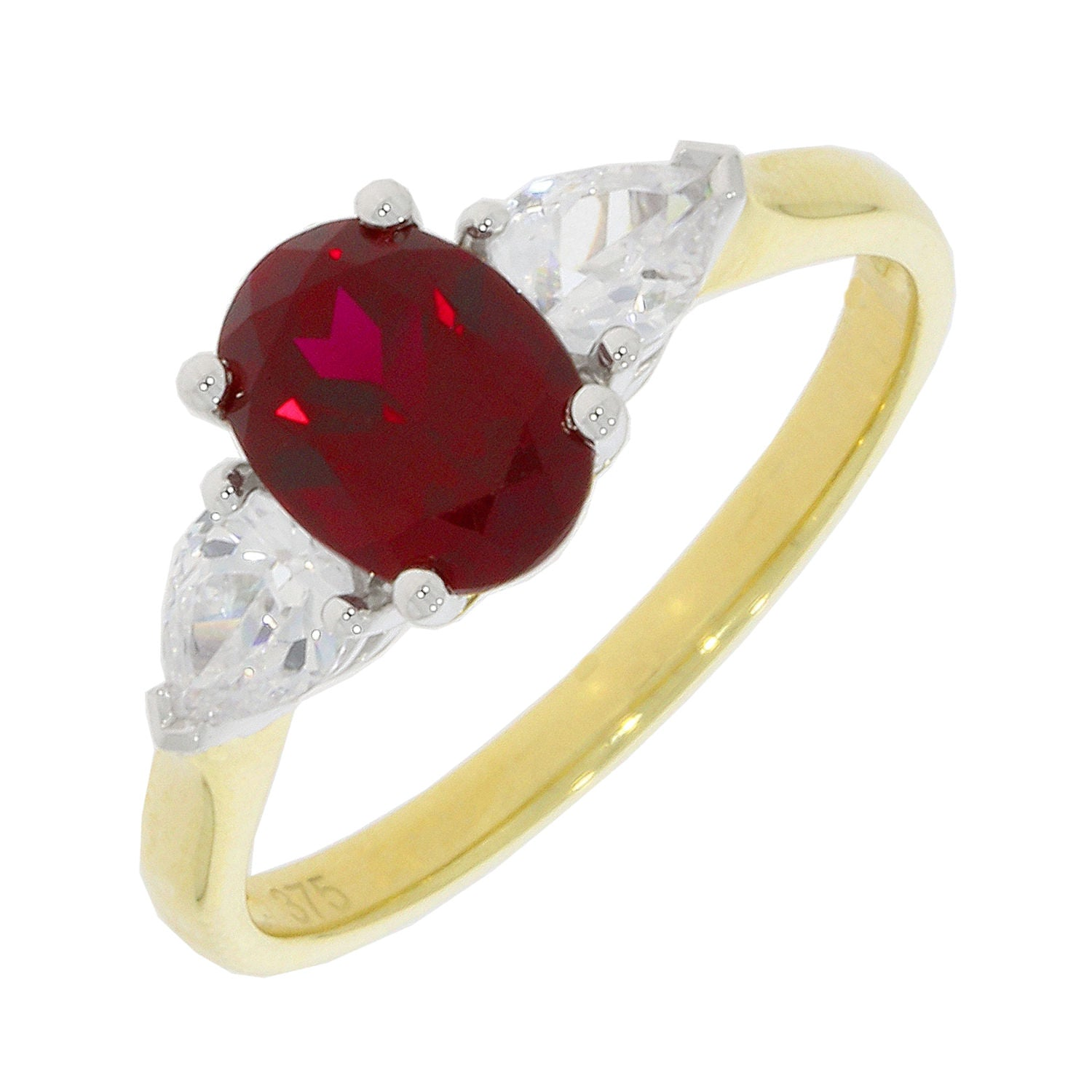 9ct Yellow Gold Red Cubic Zirconia Ring