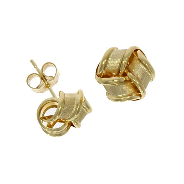 9ct Yellow Gold Satin & Polish Knot Earrings