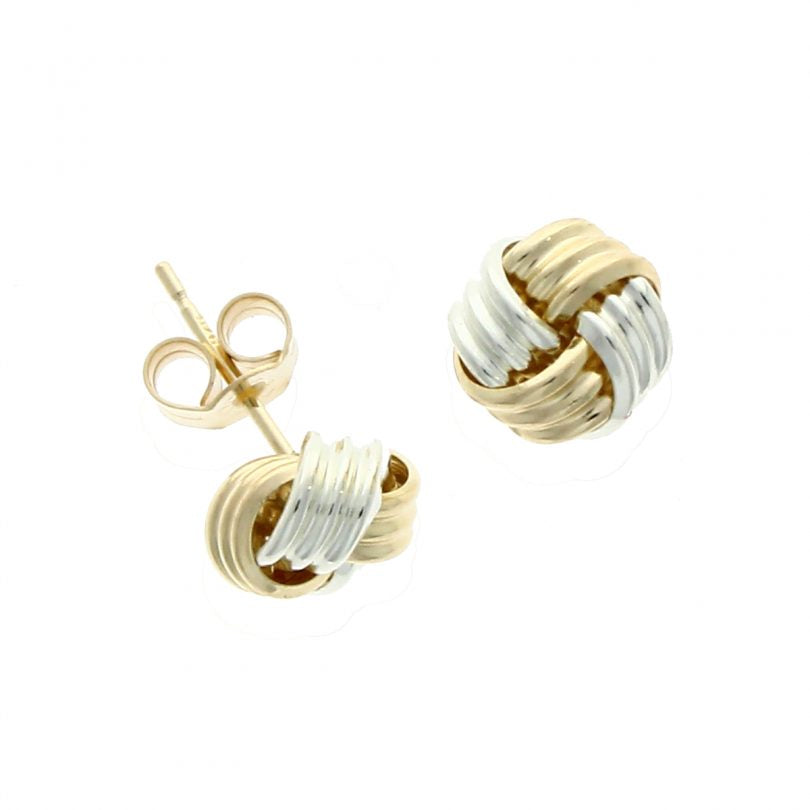 9ct Two Tone Knot Earrings