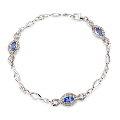 9ct White Gold Tanzanite Bracelet