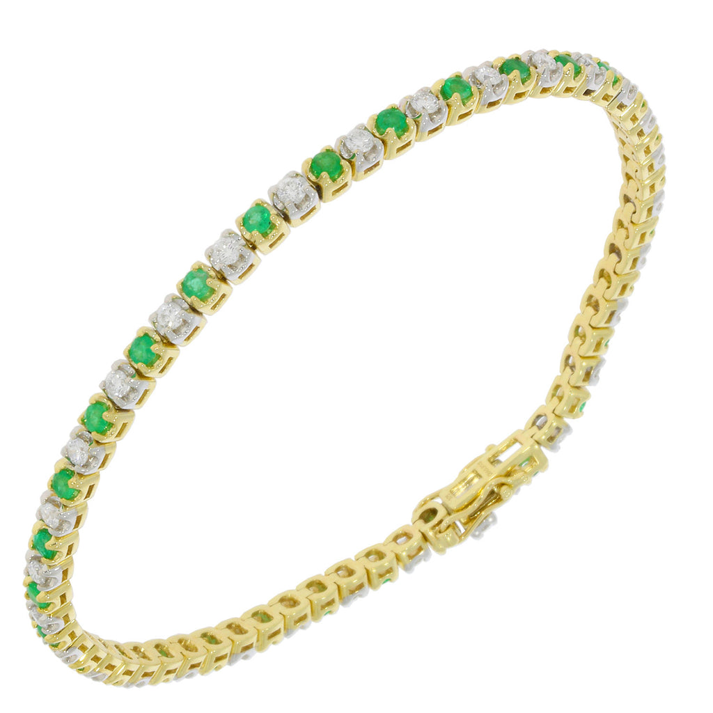 9ct Yellow Gold Diamond and Emerald Bracelet
