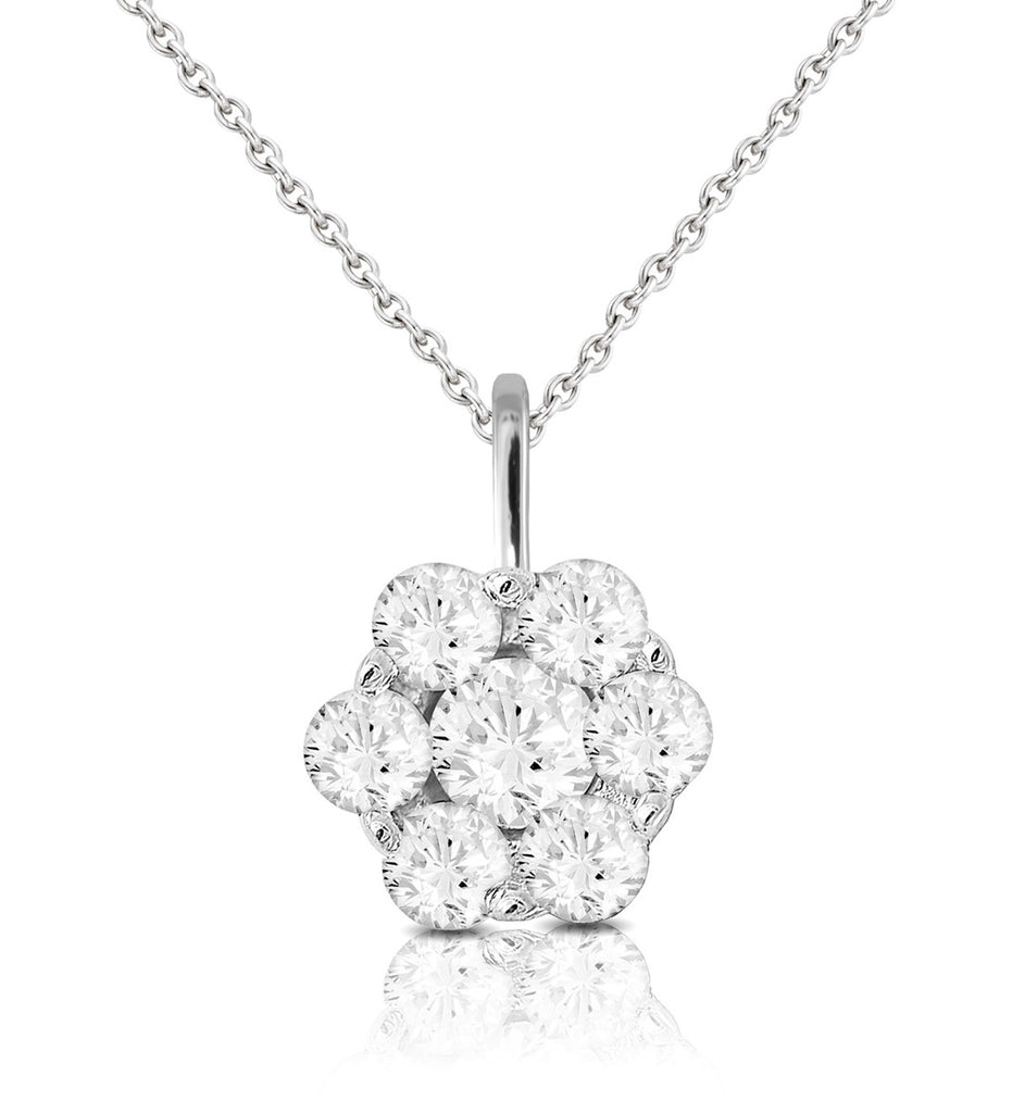 9ct White Gold 0.30ct Flower Diamond Pendant