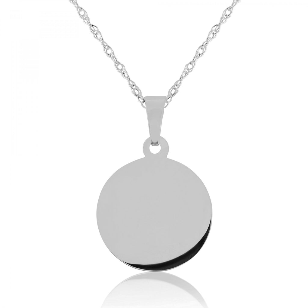 9ct Yellow Gold Engraving Disc Pendant Necklace