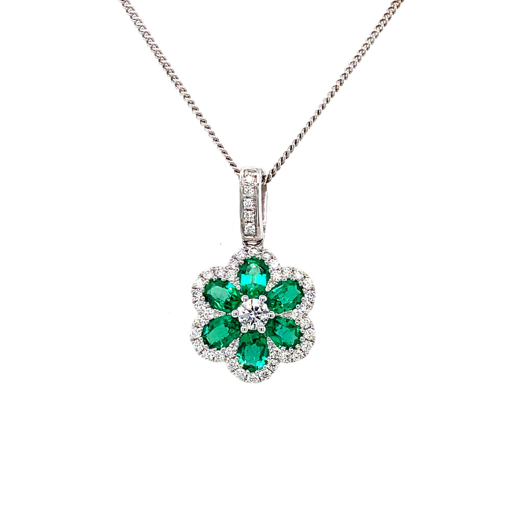 18ct Emerald and Diamond Flower Pendant