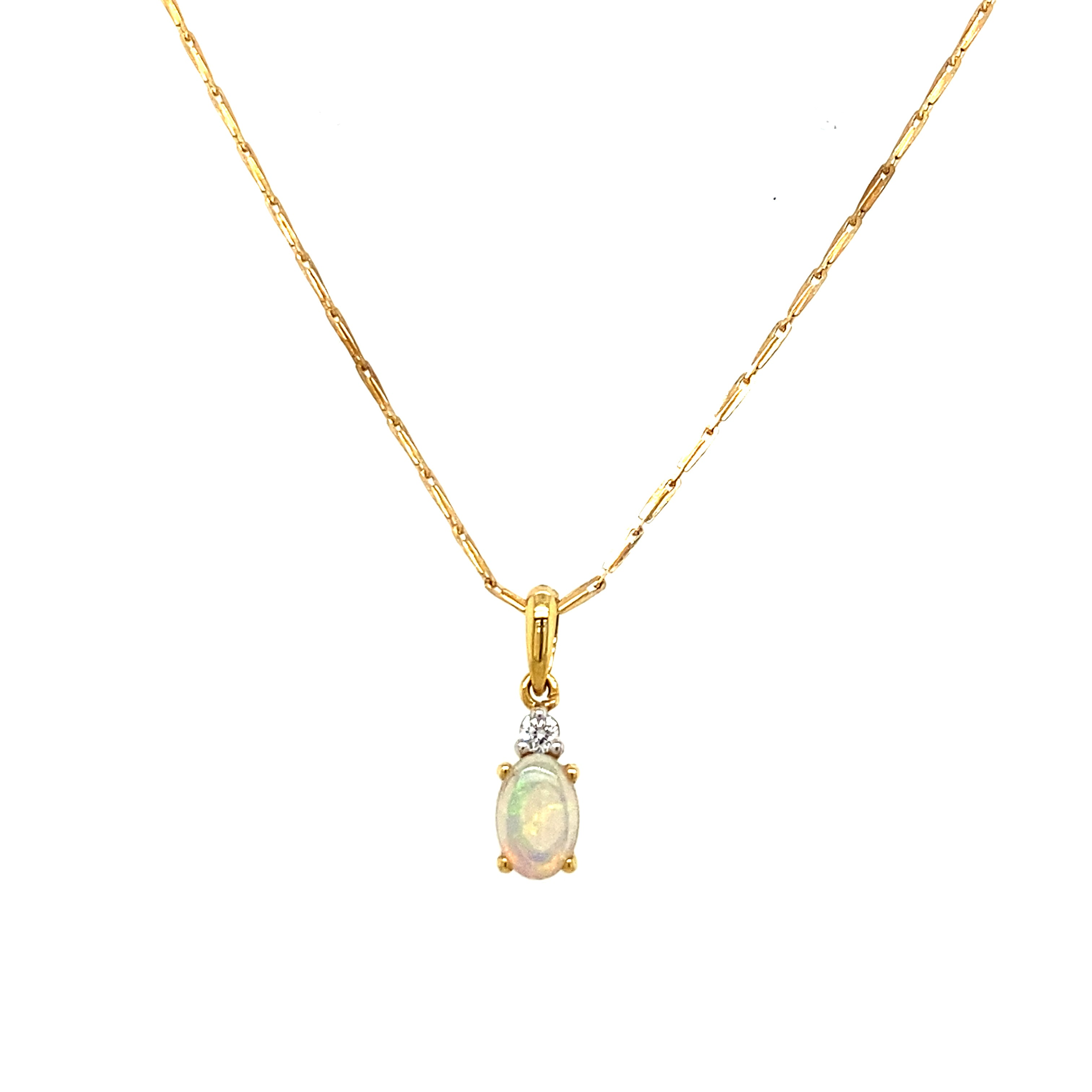 9ct Yellow Gold Opal and Diamond Necklace
